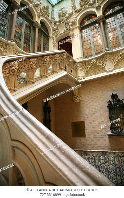 Interior staircase at L'Eixample, Casa Asia, Barcelona, Spain
