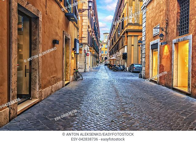 Narrow Rome street in the downtown, Italy, no people