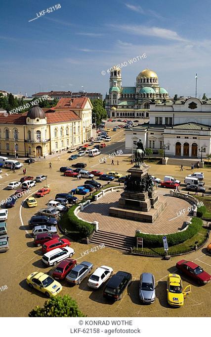 High angle view at Narodno Sabranie Square and Saint Alexander Nevski Cathedral, Sofia, Bulgaria, Europe