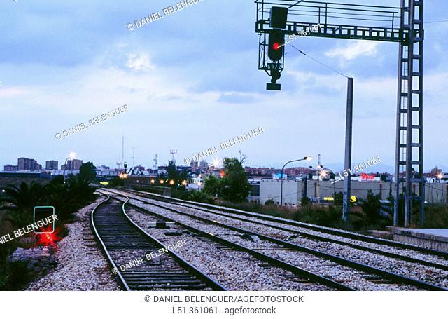 Train tracks. Valencia. Spain