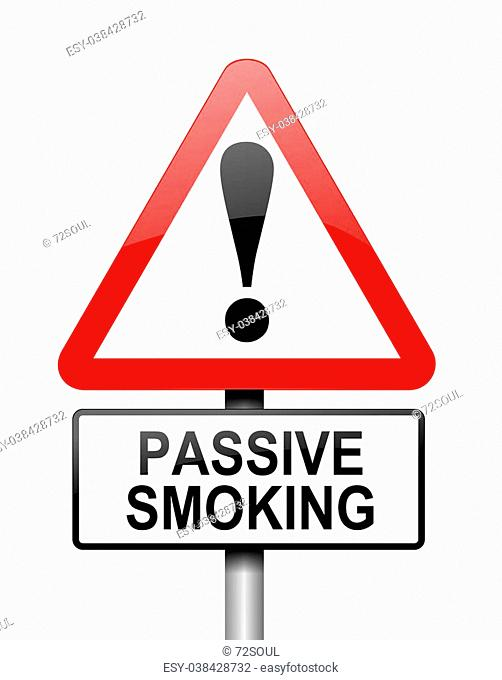 Illustration depicting a red and white triangular warning sign with a 'passive smoking' concept. White background