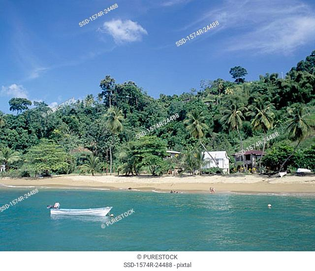 High angle view of a boat in the sea, Parlatuvier Bay, Trinidad and Tobago
