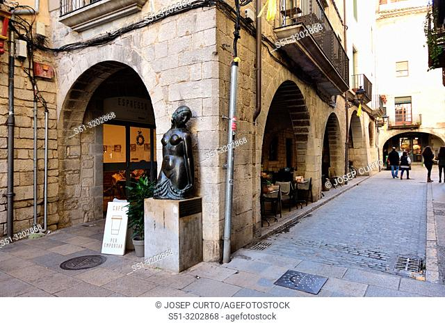 street of Cort Reial and arch of Roses old town of Girona, Catalonia, Spain