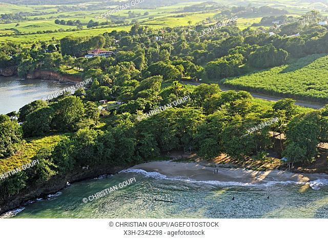 aerial view of the coast between Plessis-Nogent and Sainte-Rose, Grand Cul-de-sac Marin, Sainte-Rose, Basse-Terre, Guadeloupe, overseas region of France