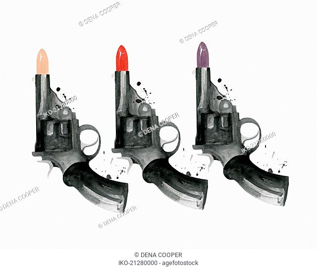 Row of guns with lipstick bullets
