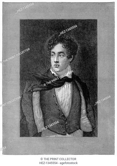 George Byron, 6th Baron Byron, British poet, (1888). Byron (1788-1824) was a leading figure in the Romantic movement. A print from the Illustrated London News