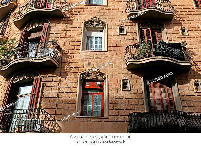 Residential building, district of Poble Sec, Barcelona, Catalonia, Spain
