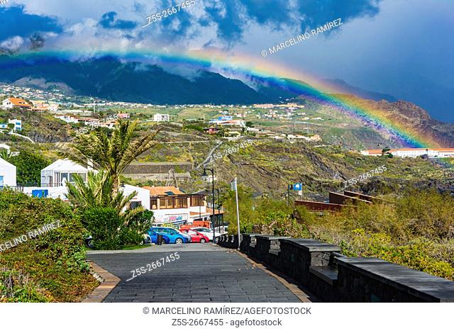 Rainbow after the rain, beach of the Cancajos. Breña Baja. La Palma. Tenerife. Canary Islands. Spain