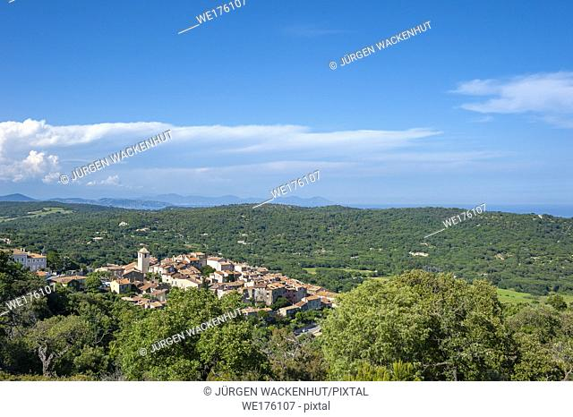 Landscape with the village of Ramatuelle and the massif Esterel in background, Var, Provence-Alpes-Cote d`Azur, France, Europe