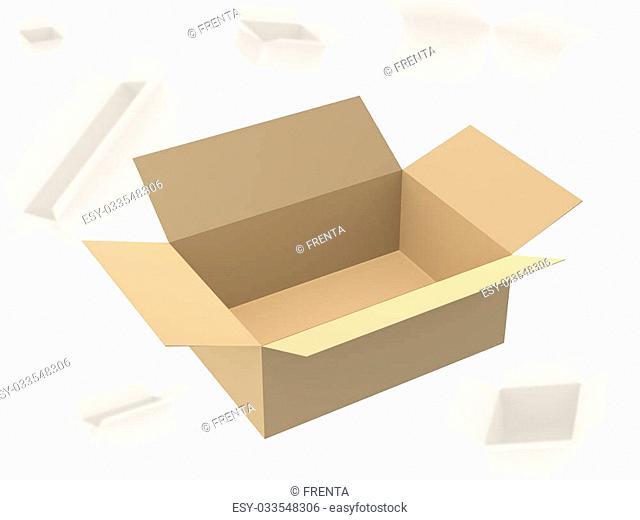 Open empty cardboard 3d box. Object over white