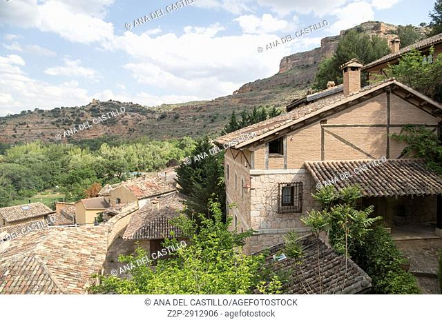 La posada de Santa Quiteria is a luxurious and rustic hotel in Somaen Soria province Spain on June 12, 2017 Indoor decoration