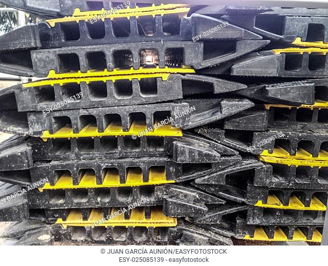 Heavy Duty Cable Protectors stacked for next event