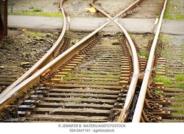 Old railroad tracks in Tacoma, Washington, USA
