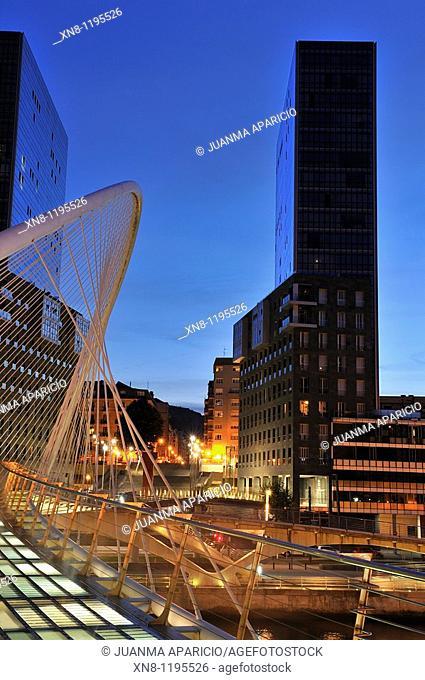 Night Photography of the Isozaki Towers and Bridge in Bilbao Santiago Calatrava