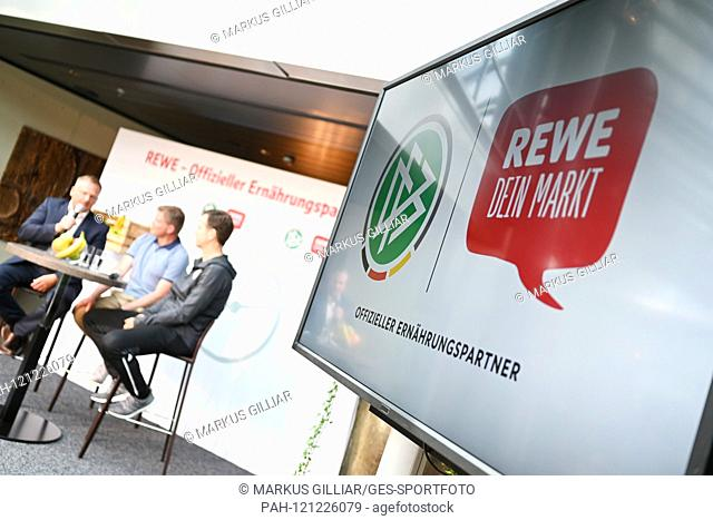 Feature, decorative image Rewe and DFB. GES / Football / Press Conference / PK of the German national football team with REWE in Mainz, 10.06