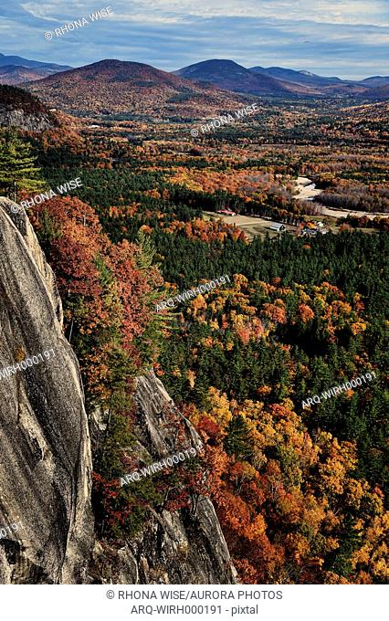 Fall foliage from top of Cathedral Ledge at Echo Lake State Park in North Conway, New Hampshire, USA