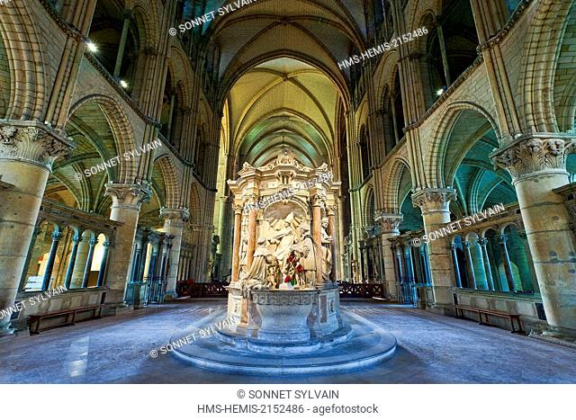 France, Marne, Reims, St Remi Basilica listed as World Heritage by UNESCO, tomb of St. Remi in the choir