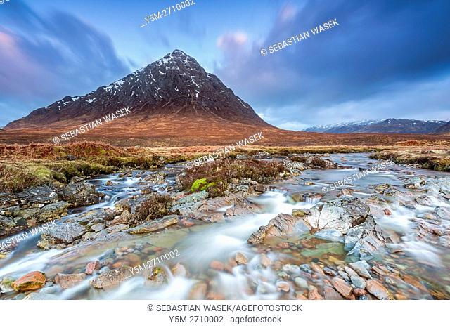 Buachaille Etive Mor and the River Coupall at Glen Etive, Highlands, Scotland, United Kingdom, Europe