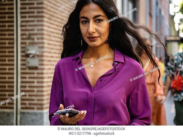 MILAN, Italy- September 20 2018: Nausheen Shah on the street during the Milan Fashion Week