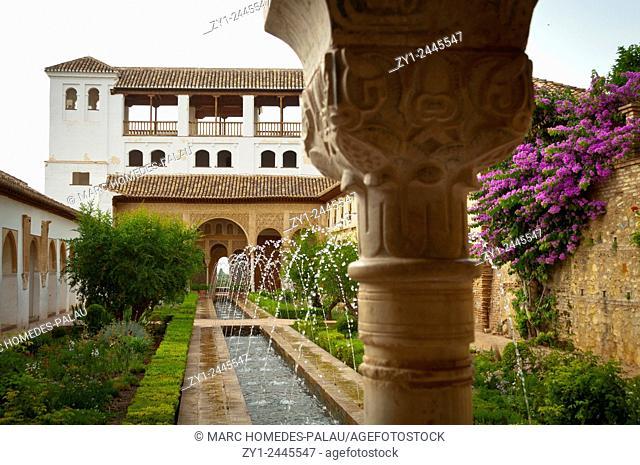 Gardens of Generalife (Alhambra), Granada. Andalucia, Spain
