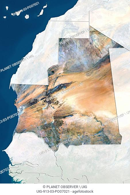 Satellite view of Mauritania (with country boundaries and mask). This image was compiled from data acquired by Landsat 8 satellite in 2014