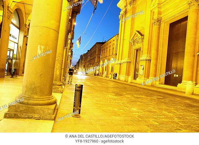 St Peters church at dusk, Via Indipendenza in Bologna Emilia Romagna Italy
