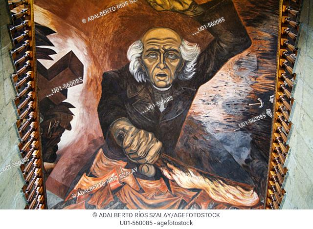 'Hidalgo' mural painting by José Clemente Orozco over the main staircase of the Government Palace, Jalisco. Guadalajara, Mexico