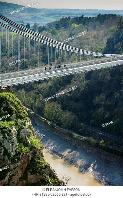 Suspension bridge spanning river gorge, Clifton Suspension Bridge, Avon Gorge, Clifton, Bristol, England, april