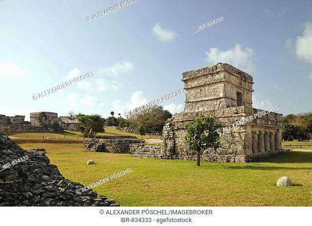 Templo de las Pinturas, Temple of the Frescoes, Tulum, Mayan archaeological excavation, Quintana Roo, Yucatan Peninsula, Mexico, Central America