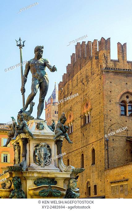 Bologna, Emilia-Romagna, Italy. Fontana di Nettuno, or Neptune Fountain in Piazza del Nettuno. The fountain dates from the mid-sixteenth century