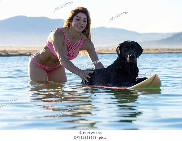 Woman having fun with her pet dog in the water; Tarifa, Cadiz, Costa de la Luz, Andalusia, Spain