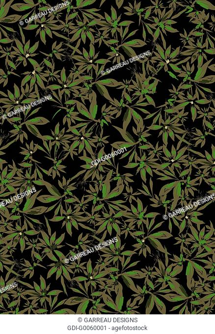 Overlapping green flowers on black background