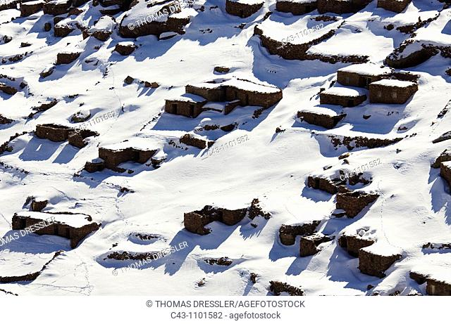Morocco - Snowed up Berber village in the vicinity of the Oukaïmeden skiing centre in the High Atlas mountains which is within easy reach from Marrakesh