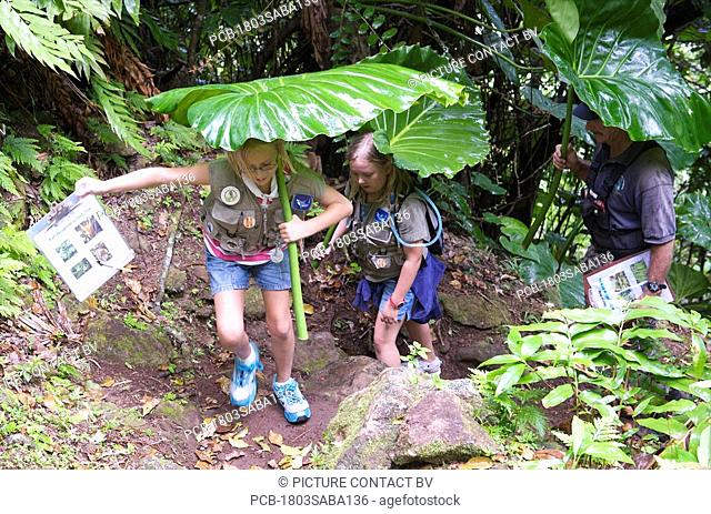 Saba, Mt Scenery, the young ranger on their weekly activity