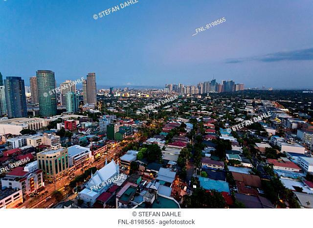 View over Makati City at Sunset, Manila, Philippines