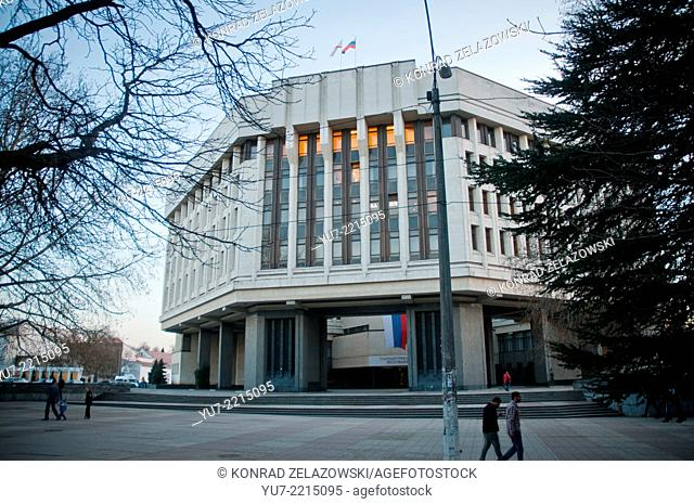 Supreme Council of Crimea in Simferopol - parliament of the Autonomous Republic of Crimea with Russian flag after Crimea crisis