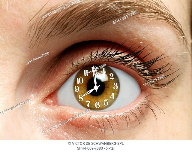 MODEL RELEASED. Eye with clock, composite image