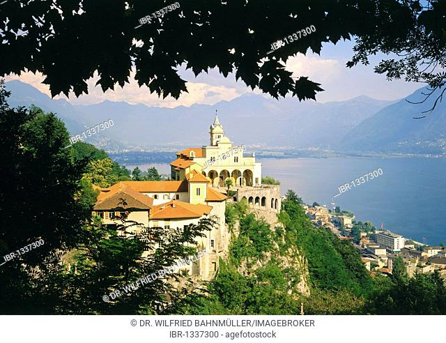 Madonna del Sasso pilgrimage church above Lago Maggiore lake, Locarno, Canton of Ticino, Switzerland, Europe