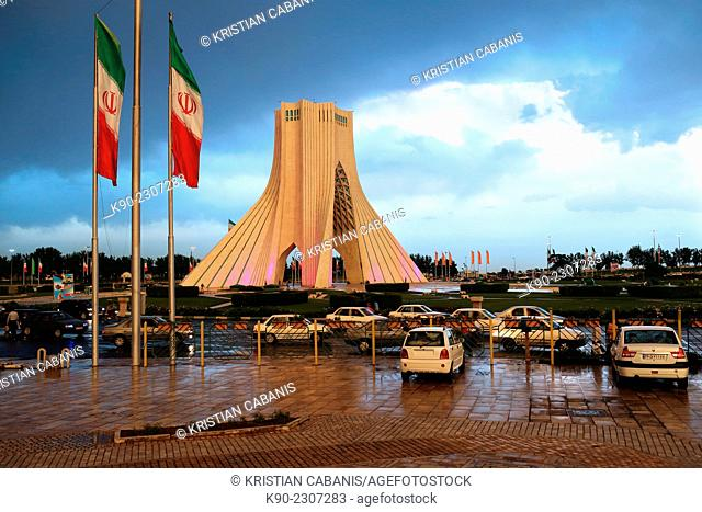 Azadi Tower (Borj-e Azadi) at a rainy day, Tehran, Iran, Asia