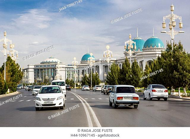 Ashgabat, City, Ruhyet, Turkmenistan, Central Asia, Asia, avenue, blue, domes, downtown, palace, road, traffic
