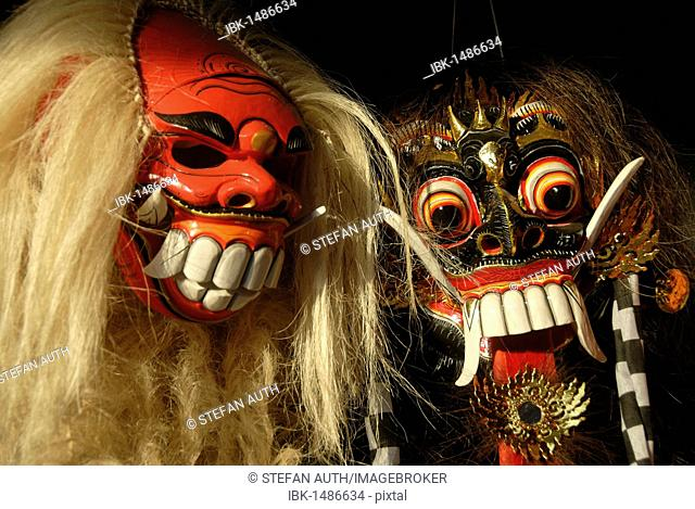 Arts and culture, Barong and Rangda masks, terrible mystical mythical creatures, Ubud, Bali, Indonesia, Southeast Asia, Asia