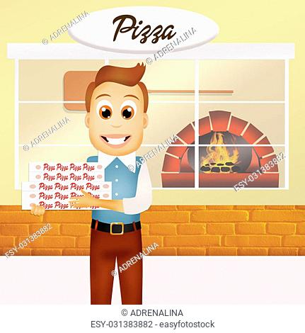 illustration of man with pizza