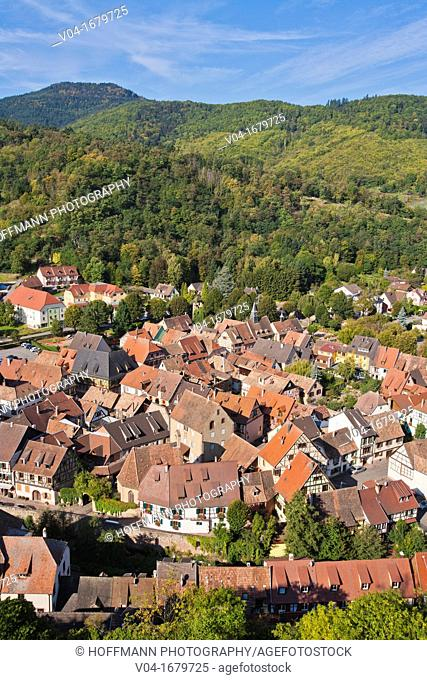 Elevated view over Kaysersberg, Alsace, France, Europe