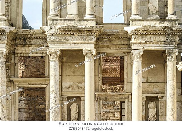 Detail of Library of Celsus façade. Ephesus, UNESCO World Heritage Site, Selçuk, Izmir Province, Ionia Region, Turkey, Eurasia
