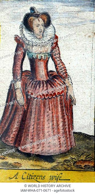 Tudor noblewoman (detail), from a map of England and wales by John Speed;C1612