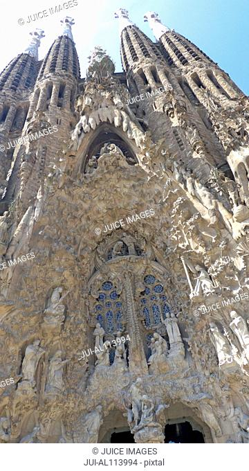 Facade of Basilica Sagrada Familia, UNESCO World Heritage site, designed by Antoni Gaudi, Barcelona, Catalonia, Spain, Europe
