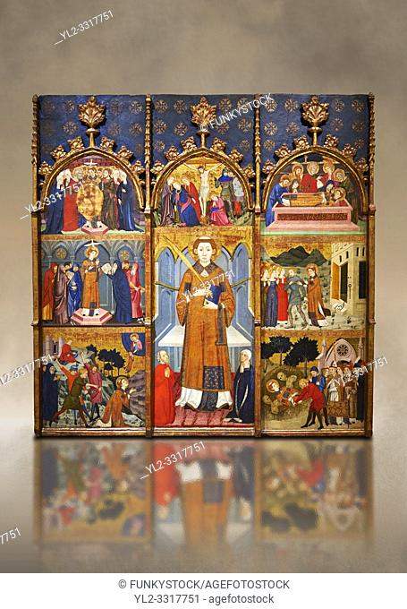 Gothic painted Panel Altarpiece of Saint Stephen by Jaume Serra. Tempera, gold leaf and metal plate on wood. Circa 1385. Dimesions 185. 7 x 186