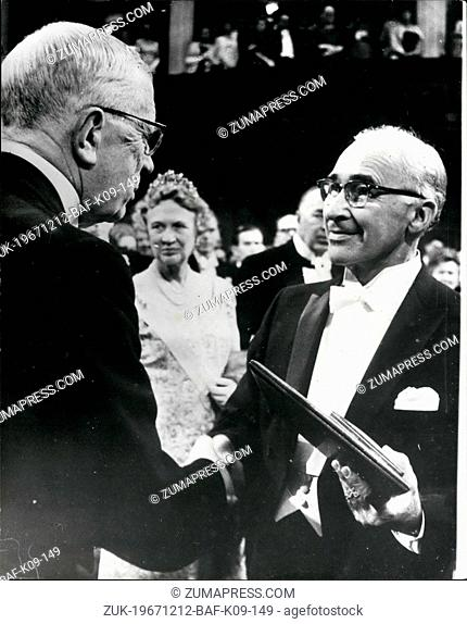 Dec. 12, 1967 - Noble Prize Award In Stockholm: At a ceremony in the Concert Hall, Stockholm on Sunday (Dec 10), King Gustav Adolf of Sweden presented this...