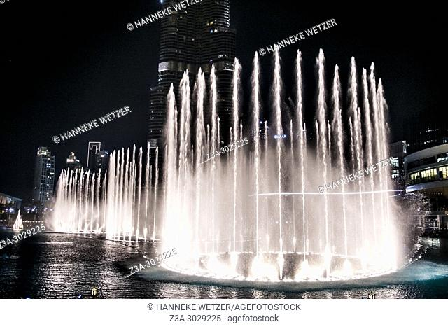 Fountain show at the Burj Khalifa in Dubai, highest building of the world