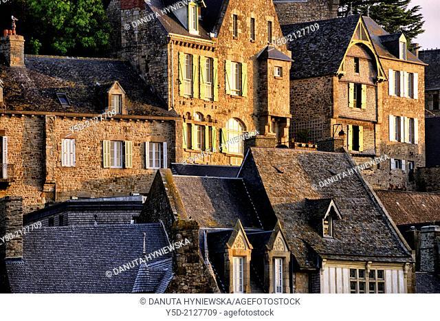 facades at sunset, Mont Saint-Michel, Normandy, France